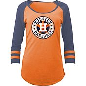 5th & Ocean Women's Houston Astros Orange Tri-Blend Three-Quarter Sleeve Shirt