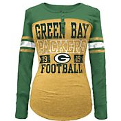 5th & Ocean Women's Green Bay Packers Tri-Blend Henley Long Sleeve Shirt