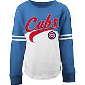 5th & Ocean Youth Girls' Chicago Cubs White/Royal Three-Quarter Sleeve Shirt