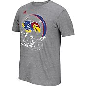 adidas Men's Kansas Jayhawks Grey Football Helmet T-Shirt