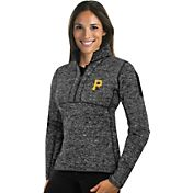 Antigua Women's Pittsburgh Pirates Grey Fortune Half-Zip Pullover