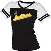 boxercraft Women's Appalachian State Mountaineers Black/White Powder Puff T-Shirt