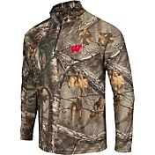 Colosseum Athletics Men's Wisconsin Badgers Camo Decoy Quarter-Zip Wind Shirt
