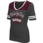 Colosseum Athletics Women's Mississippi State Bulldogs Grey Twist V-Neck T-Shirt