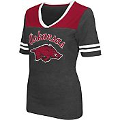 Colosseum Athletics Women's Arkansas Razorbacks Grey Twist V-Neck T-Shirt