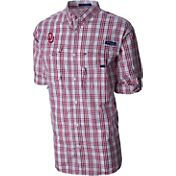 Columbia Men's Oklahoma Sooners Crimson Plaid Super Bonehead Long Sleeve Shirt