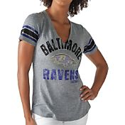 G-III for Her Women's Baltimore Ravens Any Sunday Grey T-Shirt