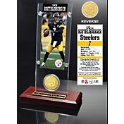 The Highland Mint Pittsburgh Steelers Ben Roethlisberger Ticket and Bronze Coin Desktop Display
