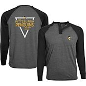 Levelwear Men's Pittsburgh Penguins Charcoal Yield Henley Shirt