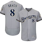 Majestic Men's Authentic Milwaukee Brewers Ryan Braun #8 Road Grey Flex Base On-Field Jersey