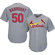 Majestic Men's Replica St. Louis Cardinals Adam Wainwright #50 Cool Base Road Grey Jersey