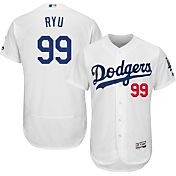 Majestic Men's Authentic Los Angeles Dodgers Hyun-jin Ryu #99 Home White Flex Base On-Field Jersey