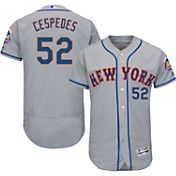 Majestic Men's Authentic New York Mets Yoenis Cespedes #52 Road Grey Flex Base On-Field Jersey