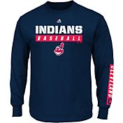 Majestic Men's Cleveland Indians Proven Pastime Navy Long Sleeve Shirt