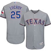 Majestic Men's Authentic Texas Rangers Jonathon Lucroy #25 Road Grey Flex Base On-Field Jersey