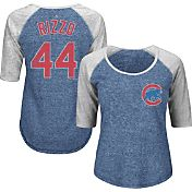 Majestic Women's Chicago Cubs Anthony Rizzo #44 Royal/Grey Raglan Three-Quarter Sleeve Shirt