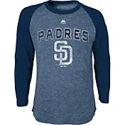 Majestic Youth San Diego Padres Navy Raglan Long Sleeve Shirt