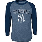 Majestic Youth New York Yankees Navy Raglan Long Sleeve Shirt