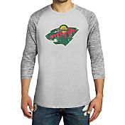 Majestic Threads Men's Minnesota Wild Grey 3/4 Sleeve Raglan T-Shirt