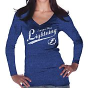 Majestic Threads Women's Tampa Bay Lightning Tri-Blend Long Sleeve Royal T-Shirt