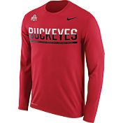 Nike Men's Ohio State Buckeyes Scarlet Staff Sideline Long Sleeve Shirt