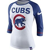 Nike Women's Chicago Cubs White/Royal Raglan Three-Quarter Sleeve Shirt