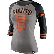 Nike Women's San Francisco Giants Grey/Black Raglan Three-Quarter Sleeve Shirt