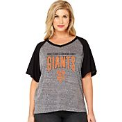 Soft As A Grape Women's San Francisco Giants Tri-Blend Raglan Half-Sleeve Shirt