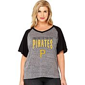 Soft As A Grape Women's Pittsburgh Pirates Tri-Blend Raglan Half-Sleeve Shirt
