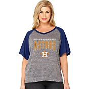 Soft As A Grape Women's Houston Astros Tri-Blend Raglan Half-Sleeve Shirt