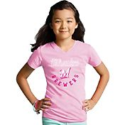 Soft As A Grape Youth Girls' Milwaukee Brewers Pink V-Neck Shirt
