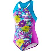 Speedo Girls' Fractured Floral Side Splice Racer Back Swimsuit