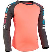 Under Armour Little Girls' Rainbow Wordmark Raglan Long Sleeve Shirt