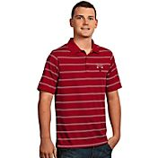 Antigua Men's Chicago Bulls Deluxe Red Striped Performance Polo