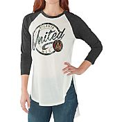 G-III for Her Women's Atlanta United Tailgate Three Quarter Sleeve Vintage White T-Shirt
