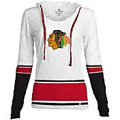 Levelwear Women's Chicago Blackhawks Laced Up Lucy White Pullover Crewneck Hoodie T-Shirt