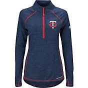 Majestic Women's Minnesota Twins Cool Base Navy Half-Zip Pullover
