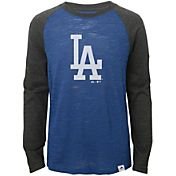 Majestic Youth Los Angeles Dodgers Royal/Grey Raglan Three-Quarter Sleeve Shirt