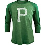 Majestic Threads Men's Pittsburgh Pirates St. Patrick's Day Green Raglan Three-Quarter Shirt