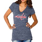 Soft As A Grape Women's Washington Capitals Navy Shadow V-Neck T-Shirt